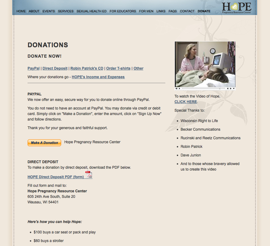 HOPE Pregnancy Resource Center - Donate Page